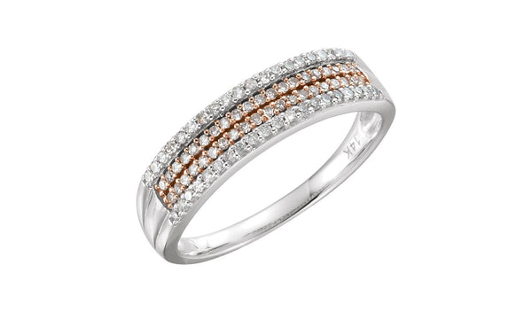14K White & 14K Rose Gold Plated 1/4 CTW Diamond Ring