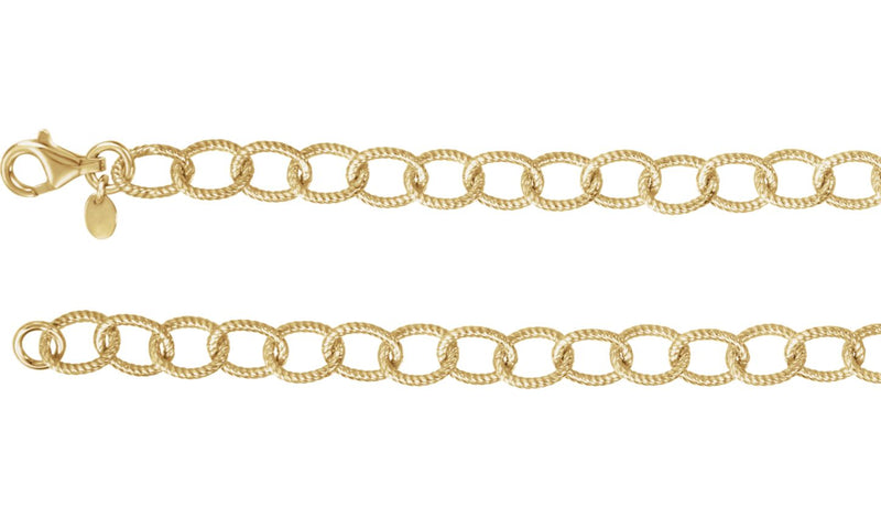 "24K Yellow Vermeil 8 mm Knurled Cable 16"" Chain"
