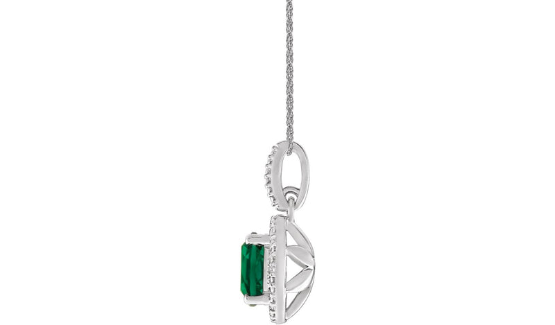 "Sterling Silver Lab-Grown Emerald &.01 CTW Diamond 18"" Necklace"