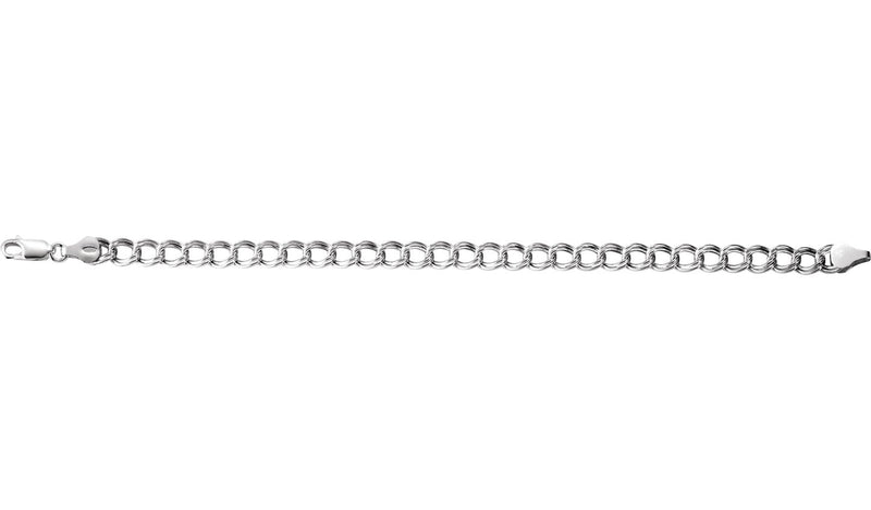 "Sterling Silver 4.5 mm Hollow Curb Charm 8"" Bracelet"