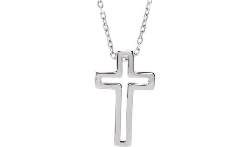 "Sterling Silver Open Cross 16-18"" Necklace"