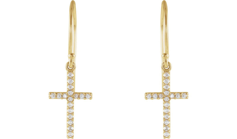 14K Yellow 1/6 CTW Diamond Cross Earrings