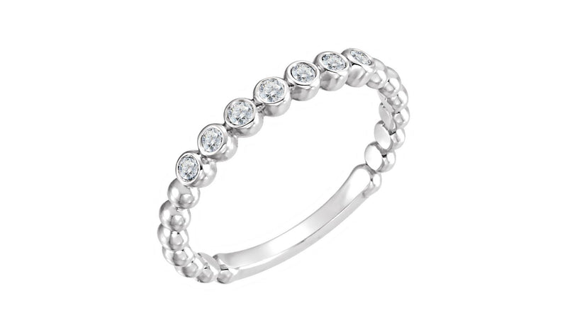 14K White 1/6 CTW Diamond Stackable Ring