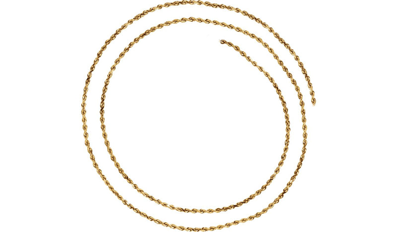"14K Yellow 1.8 mm Diamond-Cut Rope 16"" Chain with Lobster Clasp"