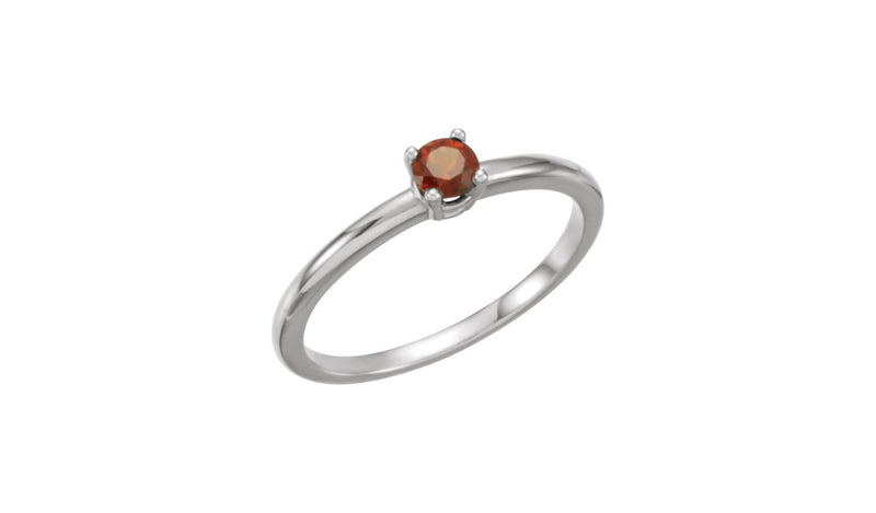 "Sterling Silver Imitation Mozambique Garnet ""January"" Youth Birthstone Ring"