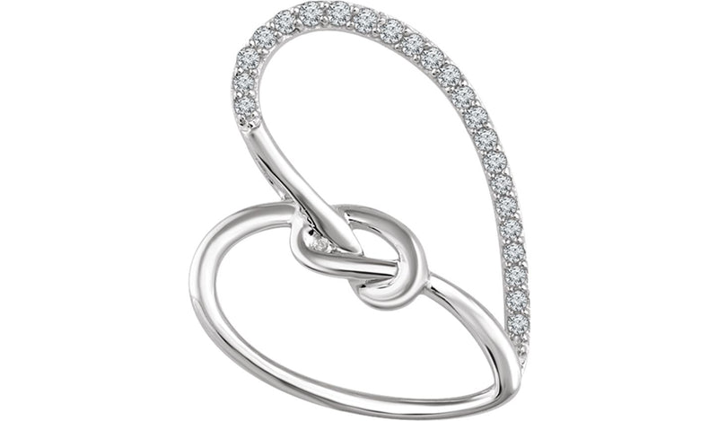 Sterling Silver 1/8 CTW Diamond Heart Knot Pendant