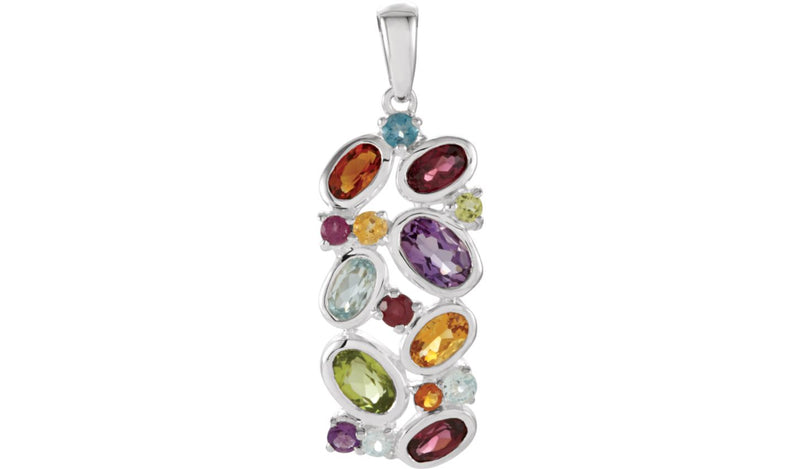 Sterling Silver London Blue Topaz, Brazilian Garnet, Amethyst, & Madeira Citrine Pendant - THE LUSTRO HUT