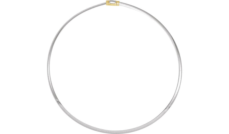 "14K Yellow & White 4 mm Two-Tone Reversible Omega 16"" Chain"