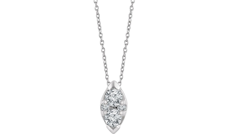 "14K White 1/8 CTW Diamond 16-18"" Necklace"