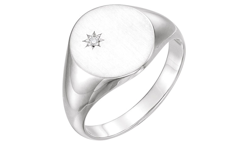 14K White .02 CTW Diamond Signet Ring