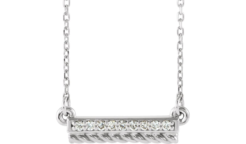"14K White & Yellow .08 CTW Diamond Rope Bar 16-18"" Necklace"