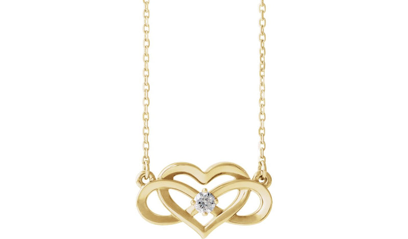 "14K Yellow 1/10 CTW Diamond Infinity-Inspired Heart 16-18"" Necklace"