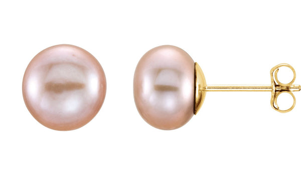 14K Yellow 7-8 mm Pink Freshwater Cultured Pearl Earrings