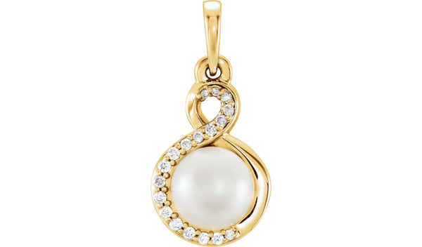 14K Yellow Freshwater Cultured Pearl & .07 CTW Diamond Pendant - THE LUSTRO HUT
