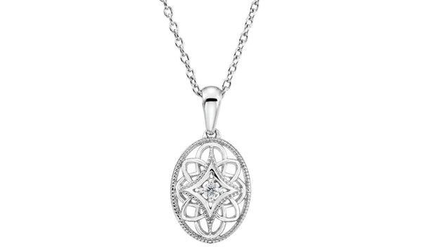 "Sterling Silver .03 CT Diamond 18"" Necklace"