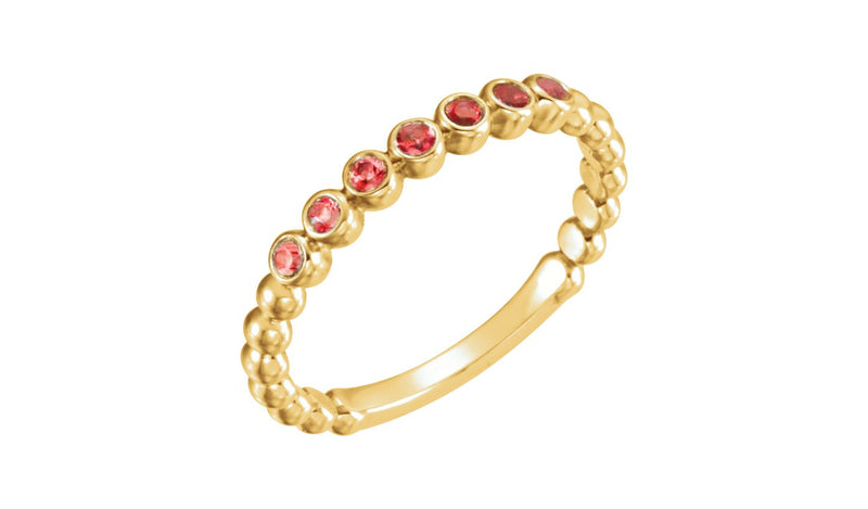 14K Yellow Mozambique Garnet Stackable Ring