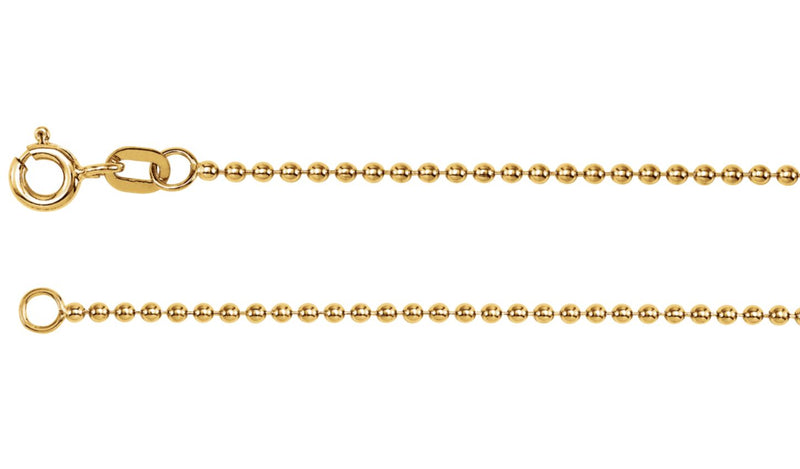 "14K Yellow Solid Bead 24"" Chain"