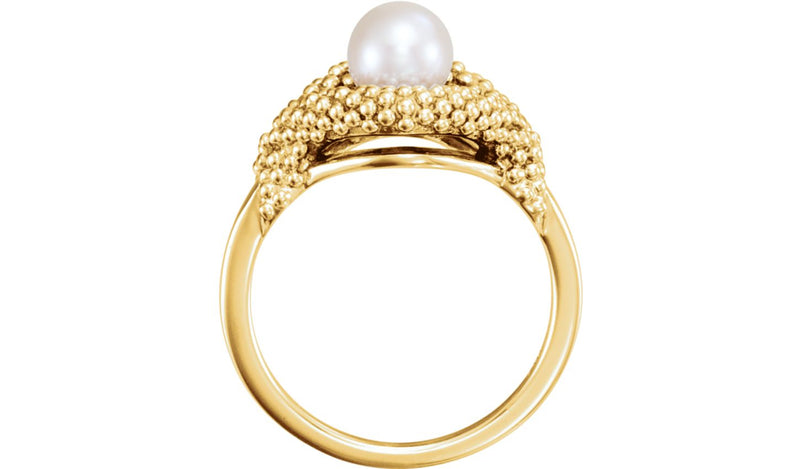 14K Yellow Freshwater Cultured Pearl Beaded Ring