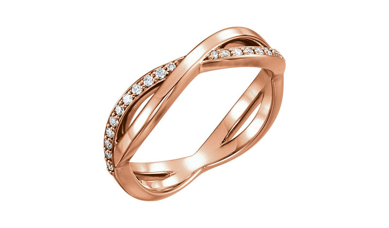14K Rose 1/5 CTW  Diamond Infinity-Inspired Ring