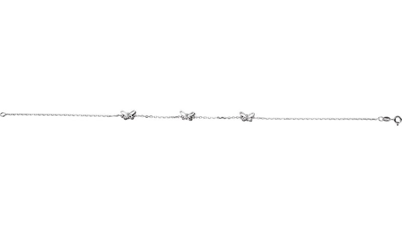 "Sterling Silver Butterfly 10"" Anklet"