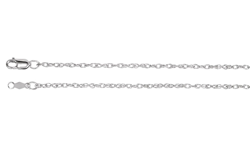 "14K White 1.5 mm Rope 18"" Chain"