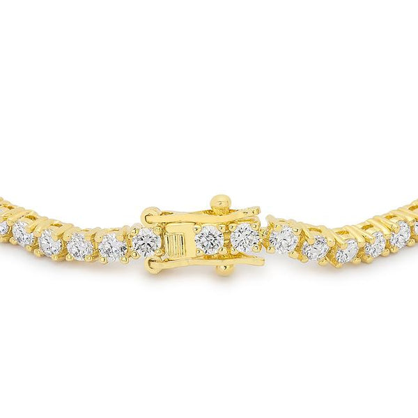 Goldtone Finish Victorian Cubic Zirconia Tennis 8 Inch Bracelet - THE LUSTRO HUT