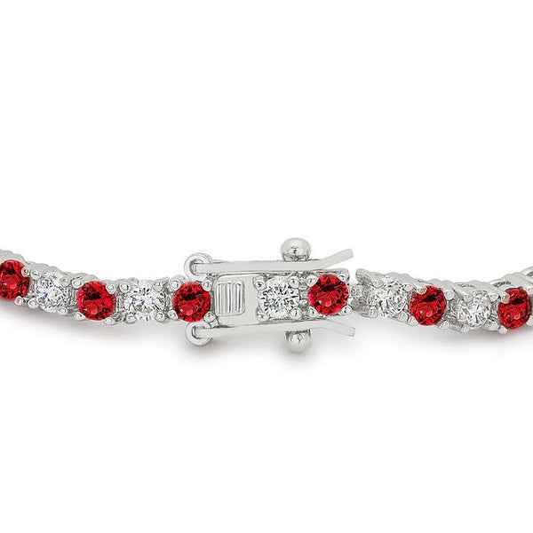 Ruby Red Cubic Zirconia Tennis Bracelet - THE LUSTRO HUT
