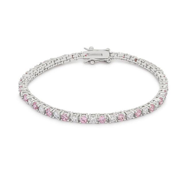 Lace Pink Cubic Zirconia Tennis Bracelet - THE LUSTRO HUT