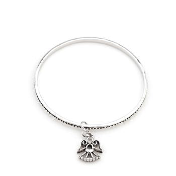 Solitaire Angel Charm Bangle