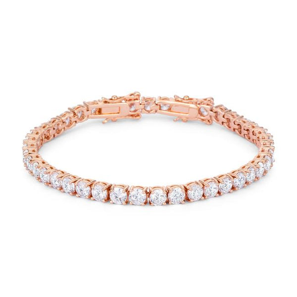17.6 Ct Rosegold Tennis Bracelet with Shimmering Round CZ - THE LUSTRO HUT