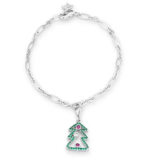 Christmas Tree 0.35ct CZ Rhodium Holiday Charm Bracelet - THE LUSTRO HUT