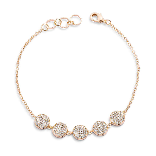 0.8ct CZ Goldtone Pave Disc Bracelet