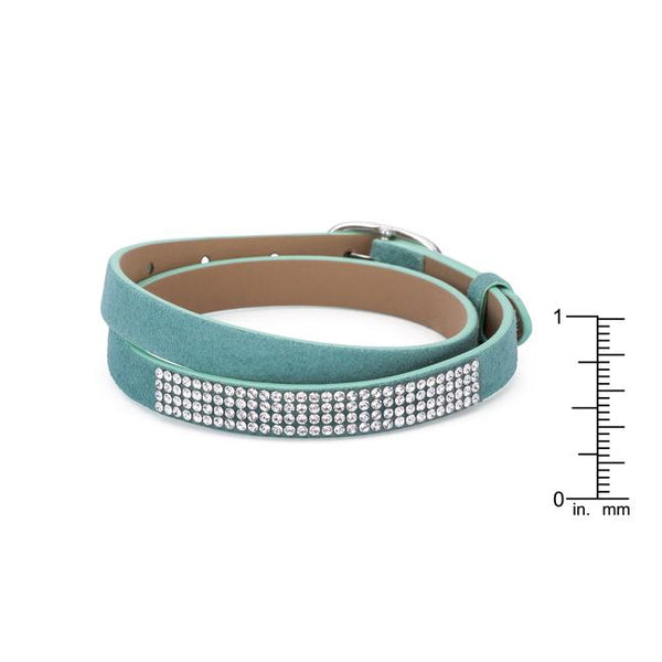 Stylish Turquoise Colored Wrap Bracelet with Crystals - THE LUSTRO HUT
