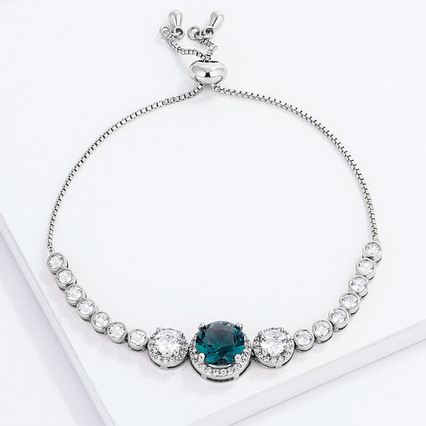 Adjustable Rhodium Plated Graduated CZ Bolo Style Tennis Bracelet - THE LUSTRO HUT
