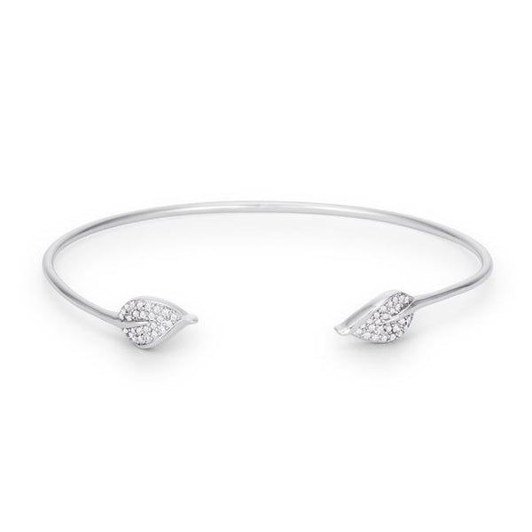 Trendy Rhodium Bracelet with Clear Cubic Zirconia Accents - THE LUSTRO HUT