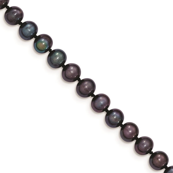 14k 6-7mm Black Near Round Freshwater Cultured Pearl Bracelet - THE LUSTRO HUT