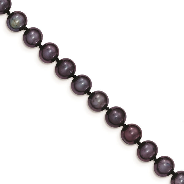 14k 7-8mm Black Near Round Freshwater Cultured Pearl Bracelet - THE LUSTRO HUT
