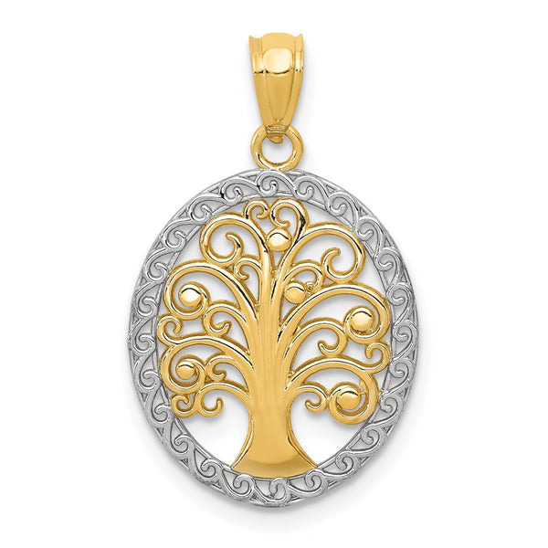 14k Yellow Gold Rhodium Plated Tree of Life Pendant