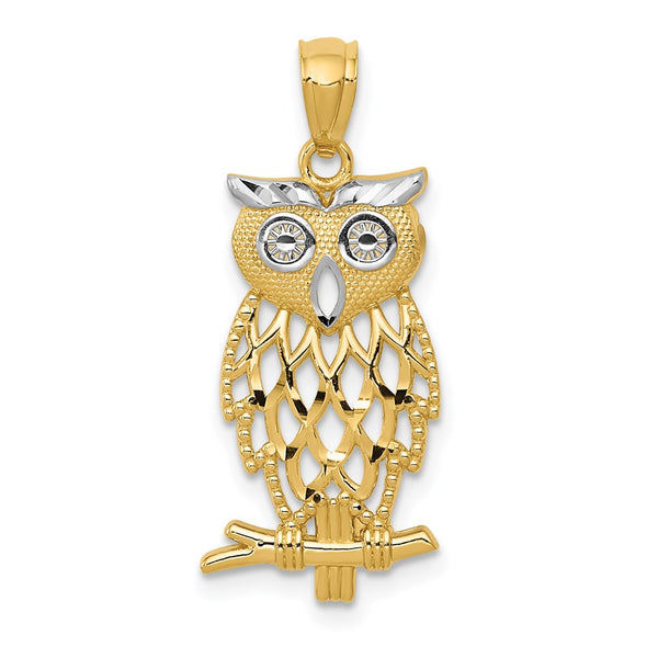 14k Yellow Gold Rhodium Plated Diamond Cut Owl Pendant - THE LUSTRO HUT