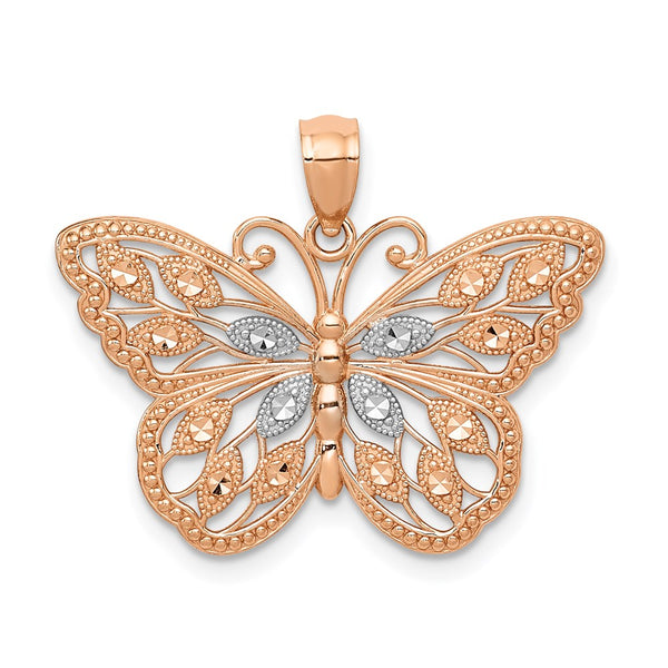 14k Rose Gold Rhodium Plated Diamond Cut Butterfly Pendant