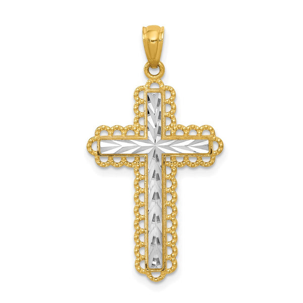 14k Yellow Gold Rhodium Plated Diamond Cut Cross Pendant - THE LUSTRO HUT