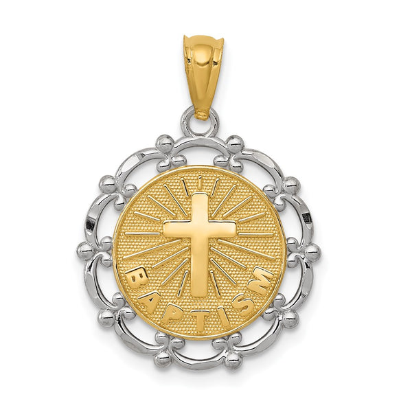 14k Yellow Gold Rhodium Plated Baptism Pendant - THE LUSTRO HUT