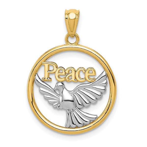 14k Yellow Gold Rhodium Plated Polished Peace Dove Pendant - THE LUSTRO HUT