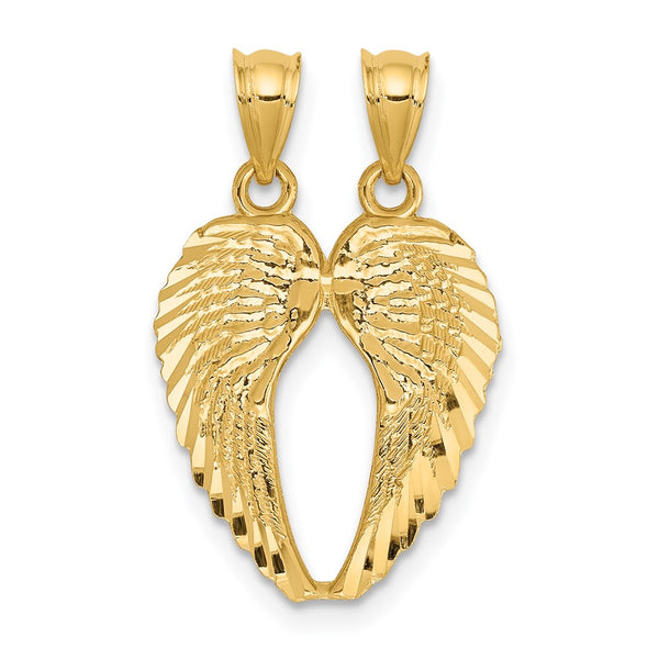 14k Yellow Gold Break Apart Diamond-cut Wings Pendant - THE LUSTRO HUT