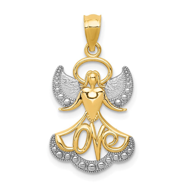 14k Yellow Gold Rhodium Plated Angel w/Love Pendant