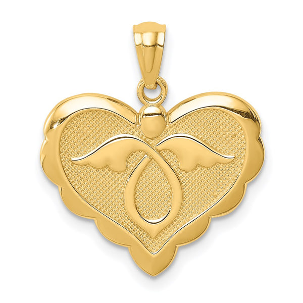 14K Yellow Gold Angel in Heart Pendant - THE LUSTRO HUT