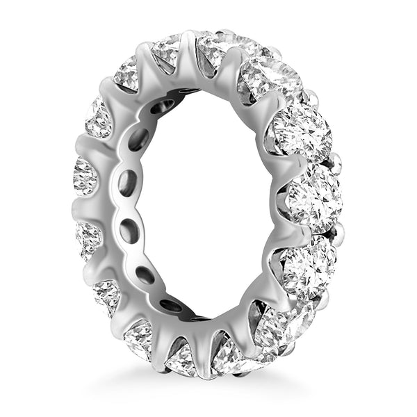 14k White Gold Round Diamond Decorated Eternity Ring - THE LUSTRO HUT
