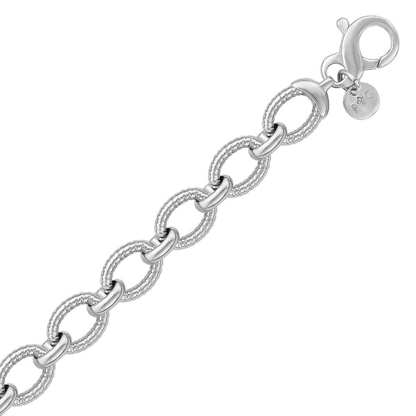 Sterling Silver Oval Cable Design Chain Link Bracelet