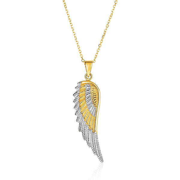 14k Two-Tone Yellow and White Gold Angel Wing Pendant