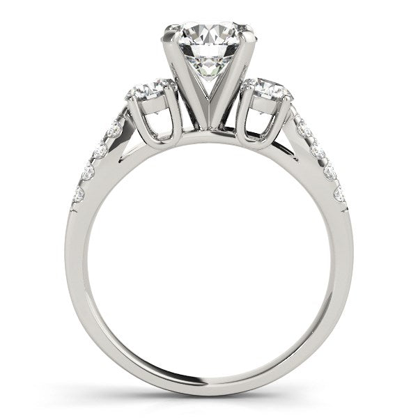 14k White Gold Split Shank 3 Stone Round Diamond Engagement Ring (2 cttw) - THE LUSTRO HUT